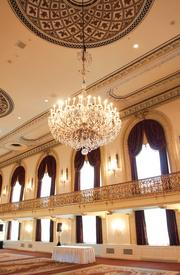 The Grand Ballroom at the Omni William Penn, Downtown received fresh paint, carpeting, window treatments, new sconces and more.