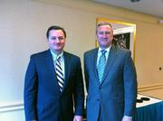 De Peart of the Pittsburgh Regional Alliance, left, and John Stanik, president and CEO of Calgon Carbon Corp. (NYSE: CCC), before the news conference where Stanik spoke about why the local company picked the region to expand.