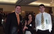 Cory Chicoine, left, and Alyssa Francescone, both of Plus Consulting, and Chad Norris of the Pittsburgh Social Exchange at the Business for Breakfast event from the Pittsburgh Business Times held Wednesday, March 21, 2012, at the Southpointe Golf Club.