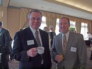 Jay Wysocki of CEI America, left, and Jim Clancy of Valassis at the Business for Breakfast event from the Pittsburgh Business Times held Wednesday, March 21, 2012, at the Southpointe Golf Club.