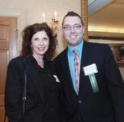 Susan Jackson of The Wellness Chiropractic Center at Southpointe and Ethan Nicholas of Pittsburgh Social Exchange at the Business for Breakfast event from the Pittsburgh Business Times held Wednesday, March 21, 2012, at the Southpointe Golf Club.