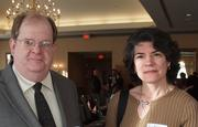 Tom Donoghue of Donoghue Project Consulting LLC and Lori Melchiorre of Bradley Brown Design Group at the Business for Breakfast event from the Pittsburgh Business Times held Wednesday, March 21, 2012, at the Southpointe Golf Club.