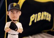 """A Joel Hanrahan All-Star bobblehead will be given out to all fans attending the 7:05 p.m. Pirates-Astros game Saturday, May 12 at PNC Park. The novelty and other promotional items were showcased at the annual """"What's New at PNC Park"""" event held April 3, 2012, for members of the news media."""