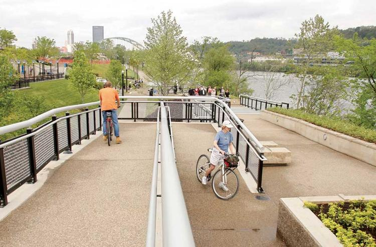 The riverfront park opened Wednesday at SouthSide Works.