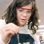Springdale Junior/Senior High School junior Mackenzie McGuire mixes compounds November 4, 2010 in Nicole Tryon's chemistry class. The school is in the Allegheny Valley School District, which ranks No. 61 on the honor roll rank of local public districts.