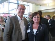 Robert P. Overbaugh of Sisterson & Co. LLP in Pittsburgh, and Lori J. Carpenter of Carpenter Legal Search in Pittsburgh at the Pittsburgh Business Times' Corridors of Opportunity event Monday, June 10, 2011, at the Westinghouse Electric Co.'s headquarters in Cranberry Township.