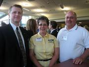 From left: Bill Lucas of Junior Achievement, Dina Denning of CSDI in Irwin and Chuck Denning of CSDI at the Pittsburgh Business Times' Corridors of Opportunity event Monday, June 10, 2011, at the Westinghouse Electric Co.'s headquarters in Cranberry Township.