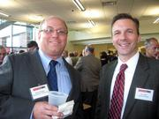 Kevin Wiggins of Thorp, Reed & Armstrong, left, and Jay Glunt of Ogletree Deakins at the Pittsburgh Business Times' Corridors of Opportunity event Monday, June 10, 2011, at the Westinghouse Electric Co.'s headquarters in Cranberry Township.