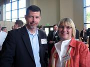 Sean Rollman of Plextronics Inc. and Marsha Kolbe of Pittsburgh Promise at the Pittsburgh Business Times' Corridors of Opportunity event Monday, June 10, 2011, at the Westinghouse Electric Co.'s headquarters in Cranberry Township.