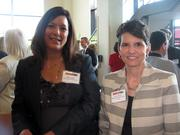 Kim Celento of Precision Services Inc., left, and Tracy Brailey of Pittsburgh Transportation Group at the Pittsburgh Business Times' Corridors of Opportunity event Monday, June 10, 2011, at the Westinghouse Electric Co.'s headquarters in Cranberry Township.
