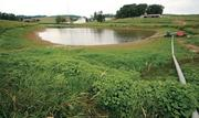 The Trax Farms irrigation pond is four-fifths below its normal level, according to Tim Trax. During a typical season, the pond's level would reach the vegetation seen in the foreground of the photo.