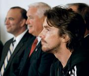 "Allegheny County executive Dan Onorato, Pennsylvania Gov. Tom Corbett and ""Batman"" star Christian Bale at the news conference Downtown in Pittsburgh."