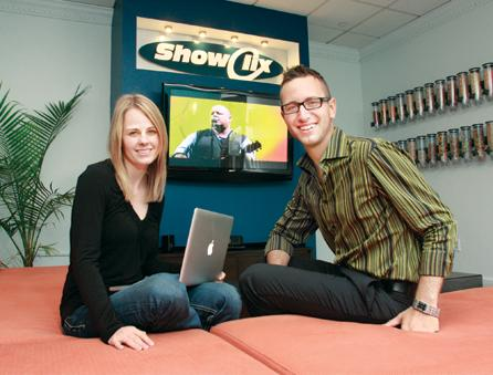 ShowClix President Lynsie Campbell and CEO Josh Dziabiak in the company's Walnut Street office.