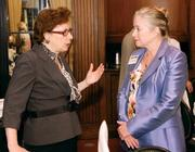 Gayle Tissue, left, of Medical and Health Sciences Foundation chats with Sherry Szakelyhidi.