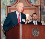 Bill Schenck of TriState Capital Bank speaks after accepting an award at the Pittsburgh 100 awards held Aug. 25, 2011 at the Duquesne Club.