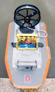 The Platypus robotic airboat that measures water quality parameters.
