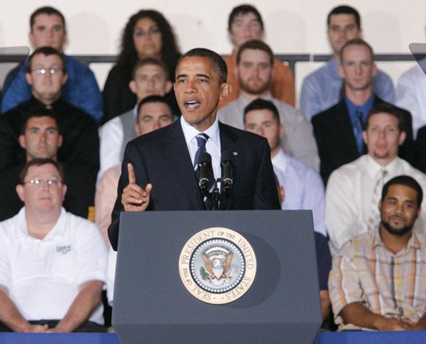 President Obama speaks Tuesday to an audience at the International Brotherhood of Electrical Workers training center on the South Side of Pittsburgh.