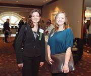 Sarah Hoffman, left, of Desmone & Associates Architects in Pittsburgh and Amanda Scheller of Eckles Construction in New Castle on Wednesday at the Pittsburgh Business Times Corridors of Opportunity event at the Westin Convention Center Hotel in Downtown Pittsburgh.