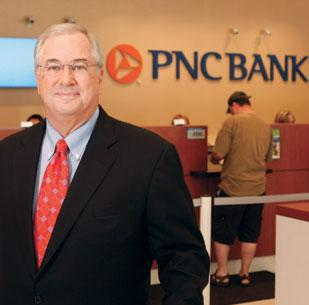 PNC Chairman and CEO James Rohr at a Downtown branch.