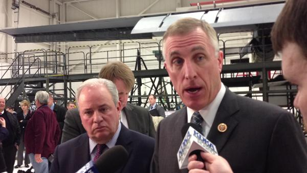 US Rep. Tim Murphy, R-Upper St. Clair, right, and US Rep. Mike Doyle,D-Pittsburgh, met Monday with 911th Airlift Wing commander Col. Craig Petersat the Moon Township base.