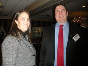 Karen Oosterhous of Washington and Jefferson College and Andrew Allen of Nemacolin Woodlands Resort at the Pittsburgh Business Times' 2012 Book of Lists reception Jan. 23 at the Rivers Club in Downtown Pittsburgh.