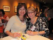 From left: Sally Klehm of Sellen Sustainability and Gigi Saladna of the Urban Redevelopment Authority of Pittsburgh on Thursday, Aug. 4, at PNC Park in Pittsburgh for the Pittsburgh Business Times' BizMix networking event.