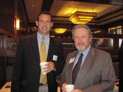 Chic Noll of Desmone, left, and Thomas Hoffman of Carbon Communications Consultants, on Wednesday, July 13, at the Business for Breakfast networking event held at McCormick & Schmick's Restaurant on the South Side in Pittsburgh. The event was sponsored by Horovitz, Rudoy & Roteman LLC and McCormick & Schmick's and presented by the Pittsburgh Business Times.