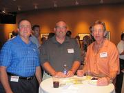 From left: Jason Huber of Tegg Corp., Erich Landis of NorthEast Energy Advisors and John L. Dolgas of Great Lakes Insurance on Thursday, Aug. 4, at PNC Park in Pittsburgh for the Pittsburgh Business Times' BizMix networking event.