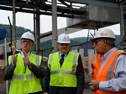 Sen. Pat Toomey and state Rep. Rick Saccone tour United States Steel Corp.'s Clairton coke making facility Friday.