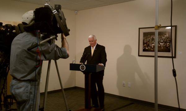 Gov. Tom Corbett speaks to reporters at a news conference after Shell Oil Co. announces that it was taking the next step in locating a natural gas processing plant in Beaver County, Pa.