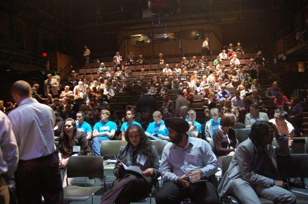 The view from the stage at the New Hazlett Theater as the crowd assembles for AlphaLab Demo Day cycle 9.
