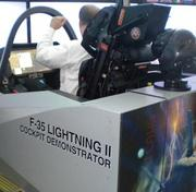 The F-35 cockpit demonstrator at the David Lawrence Convention Center.