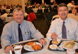 From left: John Hall and Tim Ryan with their fish sandwiches.