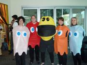 Pac-Man and Ghosts: Lynn Nero, Kelly Carter, Steve Grada, Bethany Lindow, Rachel Vigliotti at M*Modal's Halloween party Friday in Squirrel Hill.