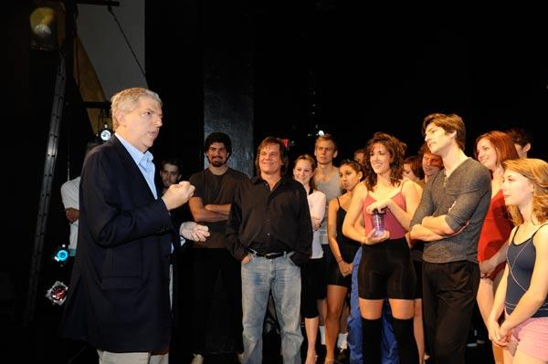 "The late Marvin Hamlisch visits the cast of ""A Chorus Line"" at the Pittsburgh Playhouse. Hamlisch wrote the music for the Tony-winning musical, which opened the season for the Conservatory Theatre Company at Pittsburgh's Point Park University."