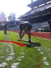 """The """"MLB Opening Series"""" logo is painted near home plate on Tuesday afternoon at PNC Park in Pittsburgh. The Pirates begin their 2012 season against the Philadelphia Phillies."""