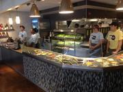Front counter at Hello Bistro. Unlike at Eat 'n Park, the salad fixings are not self-serve at the new restaurant, which allows diners to order specific salads or order their own customized creations that can also be ordered on a wrap.