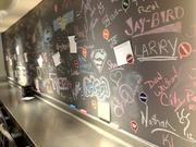 Hello Bistro features a full wall of what the company calls a guest recipe board, where diners can write their customized meals to share with others.