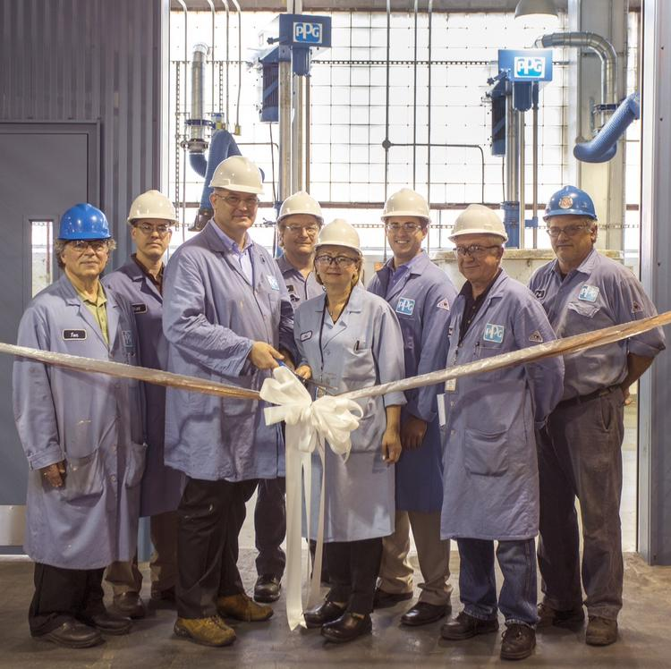 PPG Industries this week marked the startup of a new electronic materials group manufacturing cell at its Springdale, Pa., industrial coatings plant with a ribbon-cutting ceremony.