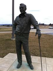 A statue of golfing great Arnold Palmer, the namesake of Arnold Palmer Regional Airport in Latrobe, is a tourist attraction in front of the airport's terminal. An employee said that visitors often take their photographs with the statue.