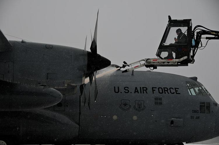A 911th Airlift Wing C-130 is deiced at the base at Pittsburgh International Airport in February. A decision is to be made as early as Tuesday, March 6, about the personnel at the base the Air Force Reserve has already said it wants to close due to budget constraints.