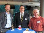 From left: Justin Krentz of Vertical Solutions, Ryan S. Flynn of Vertical Solutions and Jonathan G. Heller of JG Heller Private Wealth Advisors Inc. in Pittsburgh, at the BizMix hosted Wednesday, June 22, by the Pittsburgh Business Times at the Pittsburgh Zoo & PPG Aquarium