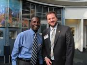 Marty Johnson, left, of Savoy Restaurant in Pittsburgh, and James O. Dann of First Commonwealth Bank in Pittsburgh, at the BizMix hosted Wednesday, June 22, by the Pittsburgh Business Times at the Pittsburgh Zoo & PPG Aquarium.