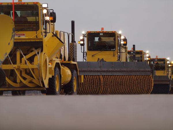 Pittsburgh International Airport snowplows, seen here earlier this winter in a drill, will be getting ready for Wednesday's snowstorm.