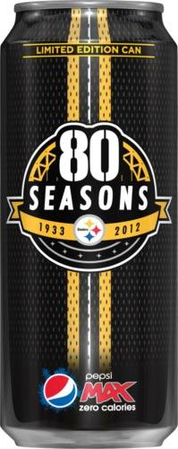 The new can for Pepsi MAX honoring the Pittsburgh Steelers' 80th anniversary.