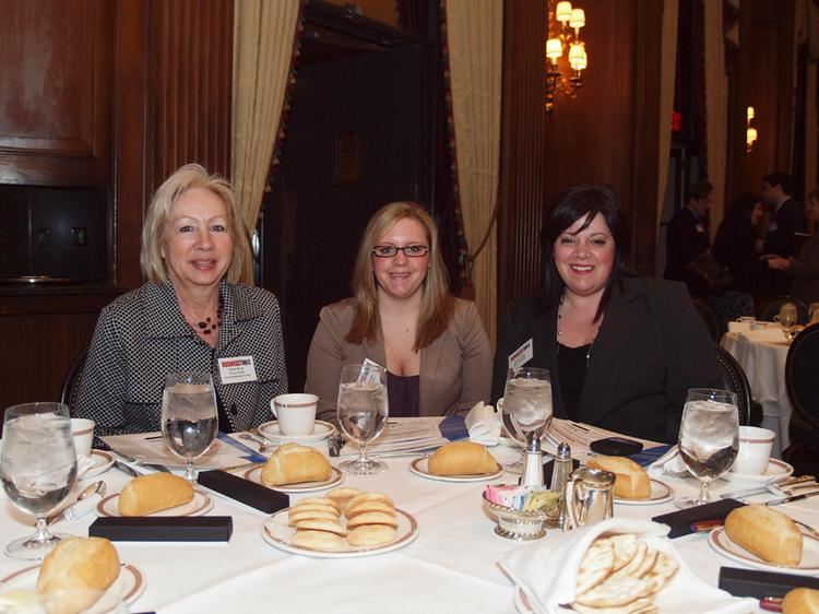 From left: Doris Byrd of Weavertown Environmental Group, Molly Zybowski of Buca Di Beppo and Shari Curcio of Buca Di Beppo during the Pittsburgh Business Times' Vision Pittsburgh event Wednesday, March 7, 2012, at the Duquesne Club in Downtown Pittsburgh.
