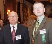 Terry Kennedy of Highwoods Properties, left, and Bill Lucas of Junior Achievement of Western Pennsylvania during the Pittsburgh Business Times' Vision Pittsburgh event Wednesday, March 7, 2012, at the Duquesne Club in Downtown Pittsburgh.