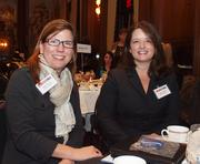 Shelley Wood of Oglebay Resort in Wheeling, W.Va., left, and Jennifer Ploskina of BI Worldwide during the Pittsburgh Business Times' VisionPittsburgh event Wednesday, March 7, 2012, at the Duquesne Club in Downtown Pittsburgh.