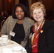 Kristin Hayes, an MBA student at the University of Pittsburgh, left, and Rose Ganter of UPMC Health Plan during the Pittsburgh Business Times' Vision Pittsburgh event Wednesday, March 7, 2012, at the Duquesne Club in Downtown Pittsburgh.