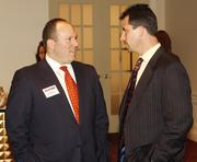 Jason Ross of Allegheny Valley Bank, left, and Dean Gregg of Brothers Lazer Service Inc.